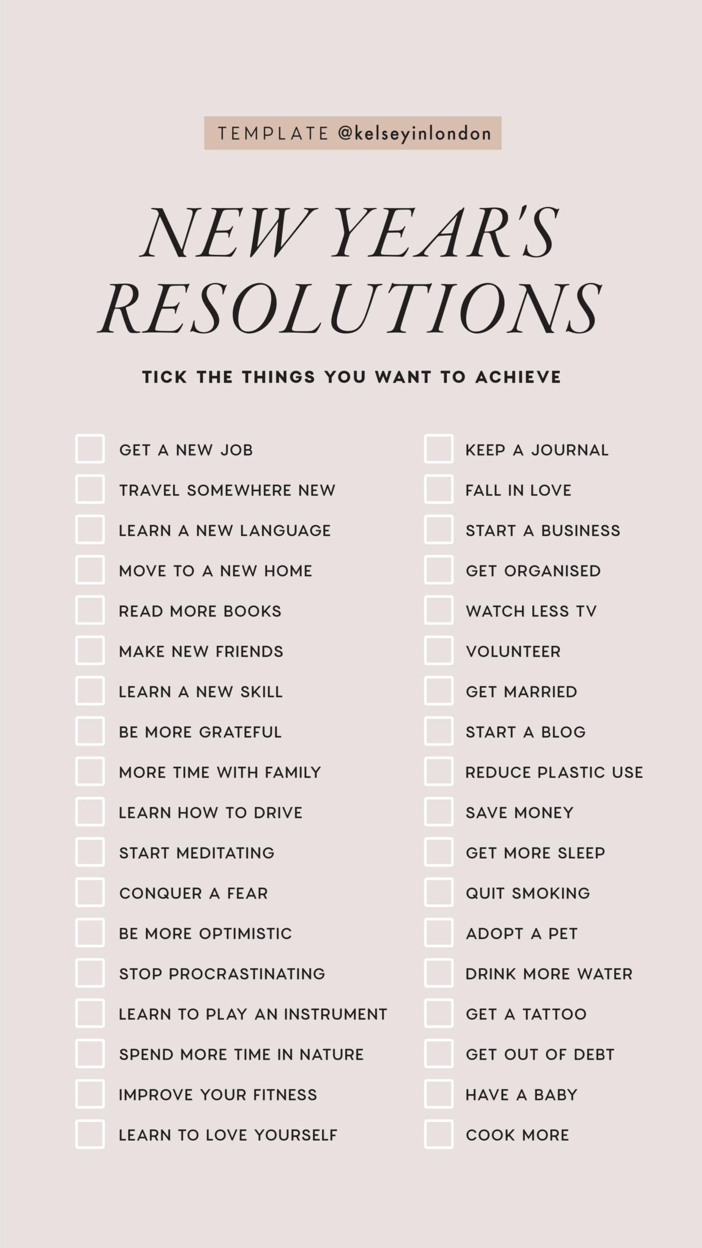 Instagram Story Template - kelseyinlondon - Kelsey Heinrichs - New Year Resolution Ideas - New Year Bucketlist