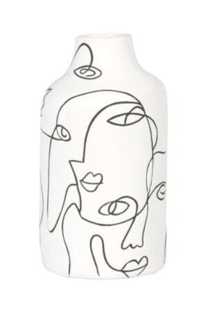 White & Black Face Vase